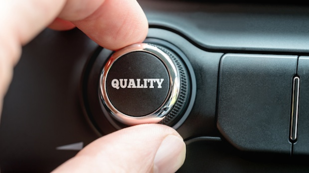 Turning on a Quality button with the word Quality in white lettering